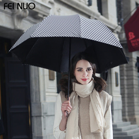 High quality brand sun protection female umbrella super anti-uv black coating vinyl 3 folding women rain umbrellas parasol