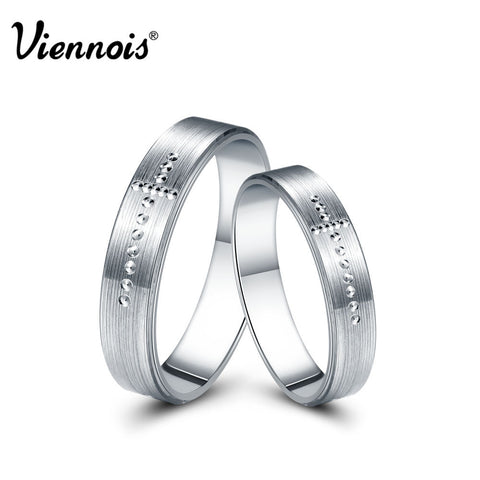 Viennois New Fashion Jewelry 925 Sterling Silver Ring Cross Lovers Couple Rings for Women Men Valentine's Day Gift