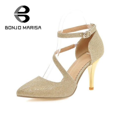 2016 Hot Sale Chic Ankle Strap Pointed Toe Women Pumps Buckle Strap Ladies Party Mature Sexy Shoes Big Size 32-43