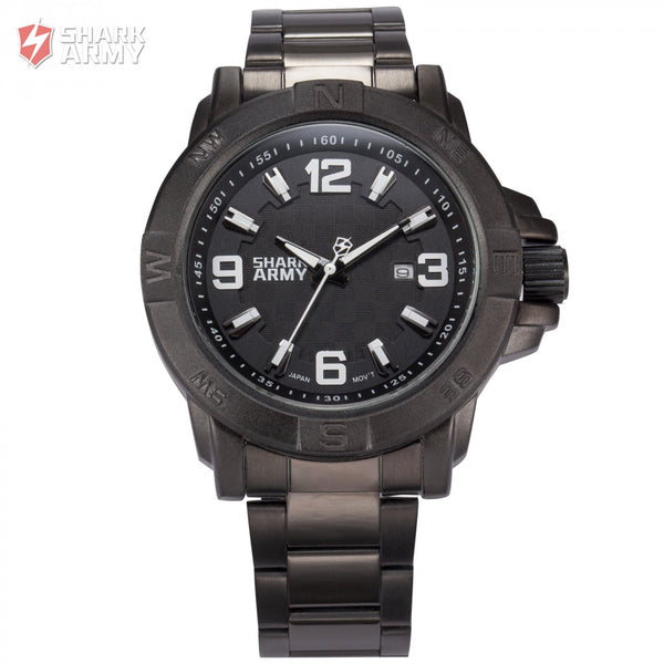 Shark Army Auto Date Calendar Display Black Stainless Steel Band White Analog Quartz Military Male Clock Men Sport Watch/SAW150