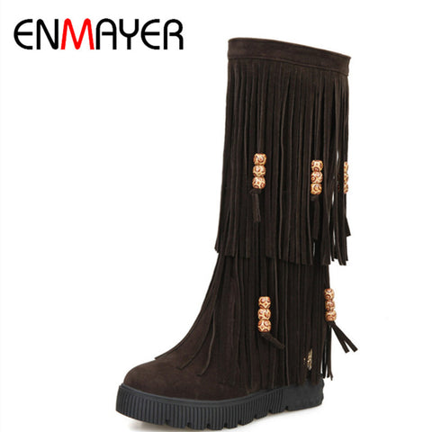 ENMAYER Fashion Slip On Tassel Nubuck Boots Height Increasing Platform Boots Winter New Warm Shoes Women Snow Boots Size 34-44