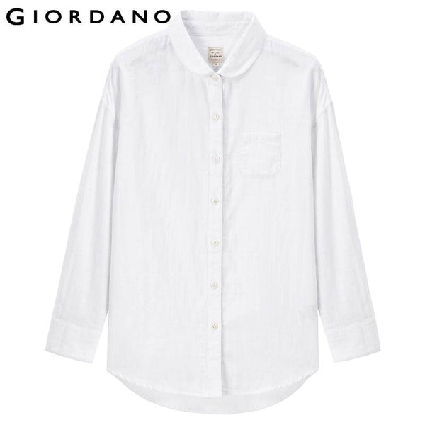 Giordano Women Double-Deck Solid Blouse Brand Long Sleeve Female Blouses Blouses Pocket Solid Shirt Ropa Mujer Plus Size Tops