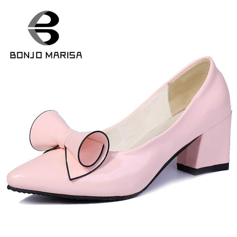 2016 brand sale solid pointed toe bowtie women party pumps sweet sexy concise med square heels office lady dress shoes