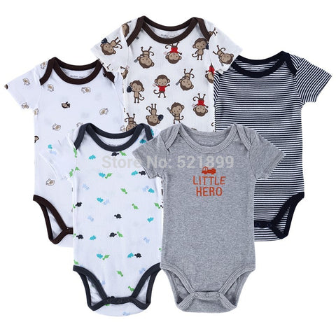 5pcs/ lot Baby Romper Clothes Set, Hanging Bird Short Sleeve Bodysuits Sets,Baby Girl Clothing Set 0-3,-6,6-9,-12 months