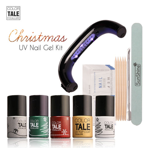 Focallure Tale Nail Art Manicure Tools 9W UV Lamp + 4 ColorS 10ml Soak Off Gel Nail Top Coat Polish with Remover Set File Kit