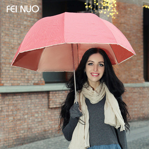 Fashion high quality brand anti-uv princess women rain umbrella femal mushroom style parasol