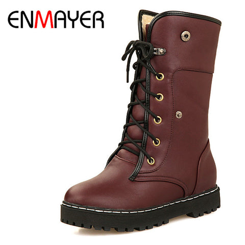 ENMAYER Boots Women Low Heels Lace-Up Mid-Calf Boots Shoes Winter Boots Warm Fur Boots Women Platform Fashion Boots Size 34-39