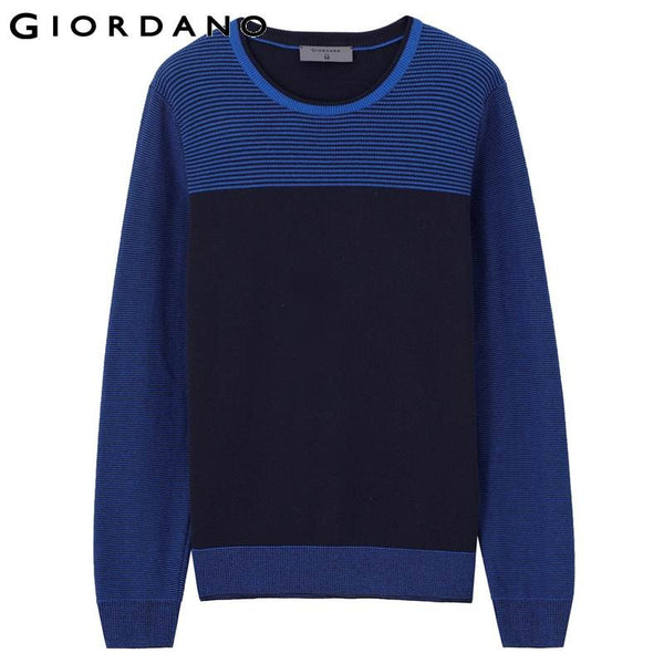 Giordano Men Crewneck Sweater Mens 100% Cotton Knitted Pullover Full Sleeved Sweaters Sueter Hombre Pull Homme Marque
