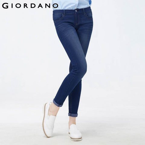 Giordano Women Brand Soft Whiskering Slim Jeans Quality Blue Denim Jeans Female Autumn Calca Feminina Casual Jeans Femme