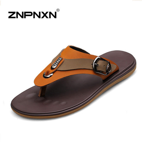 Fashion Men Flip Flops Flat Sandals For Men   Leather Slipper