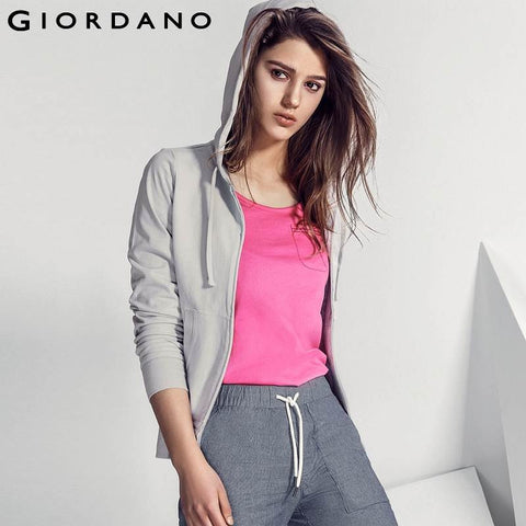 Giordano Women Hooded Sweatshirt Solid Zip Hoodie Mujer Felpe Donna Sweat Femme 100% Cotton Sweatshirts Sportswear Woman