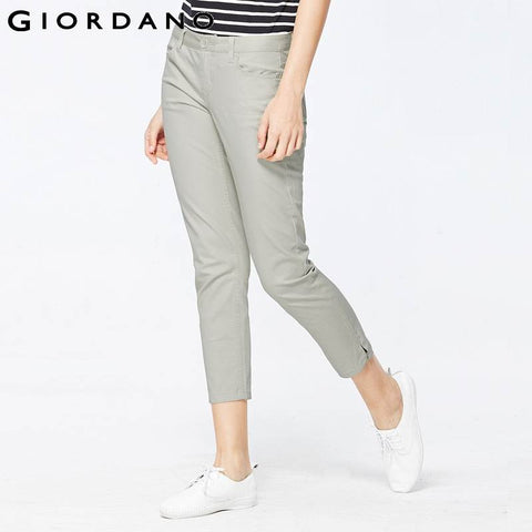 Giordano Women Pants Chino Solid Cotton Trousers Dobby White Pants Summer Style Pantalon Femme Slim Fit Pantalones Femme