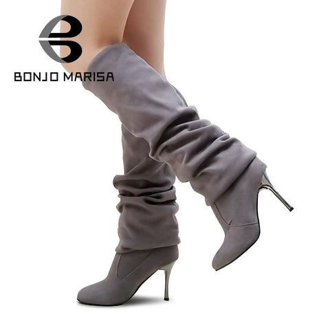 Big Size 34-43 Womens High Heel Boots Over the Knee High Boots for Sexy Lady Fashion Shoes Knight Boots XB345 Free Shipping