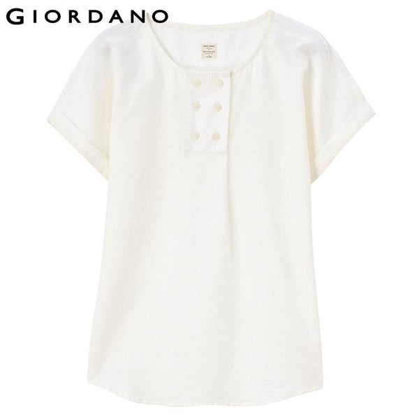 Giordano Women Blouse Short Sleeves Linen O-neck Solid Ladies Shirt Blusas Roupas Summer Tops Casual Chemisier Vetements