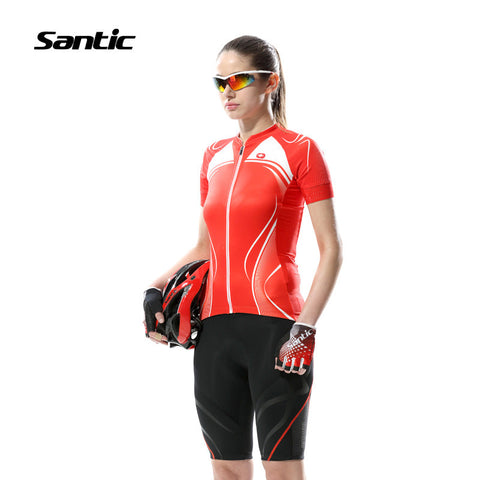 2016 Spring Santic Women Cycling Jersey Short Sleeve Cycling Wear Rose Red Cycling Jerseys Summer Shirts mujer L5C02078R