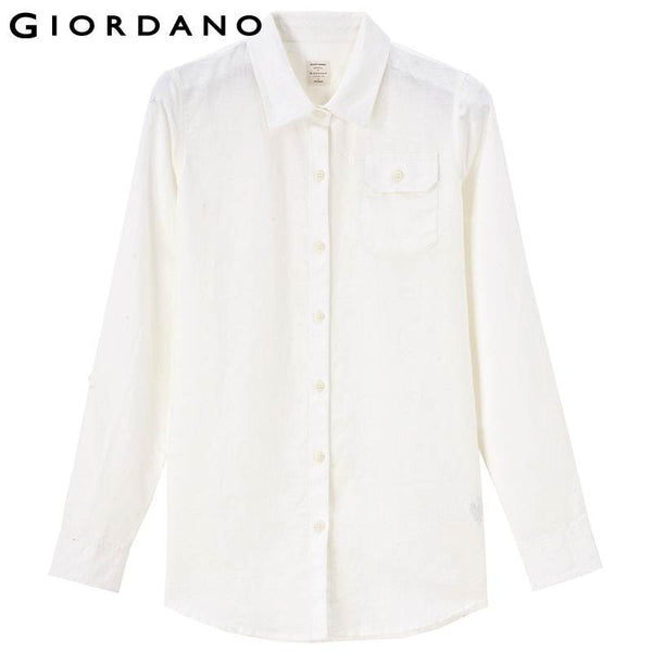 Giordano Women Solid Blouse Pocket Linen Shirt Roll-up Collar Blouses Femme Camisa Basic Women Clothes Famous Brand