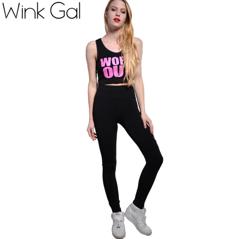 Wink Gal 2016 New 2 Piece Set Sport Suit Sleeveless Work Out Print Active Costumes Tracksuit 3R1980