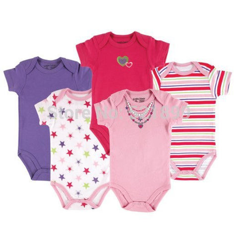 5 pcs / lot Luvable Friends Hanging Baby Clothing 5 Pack  Cupcake Colors Baby Bodysuits,Baby Rompers,, 0-3,3-6,6-9,9-12 months