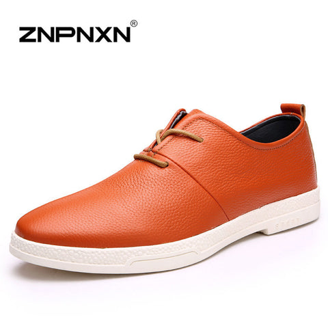 2016 Fashion flats genuine leather men shoes shock absorption non-slip casual shoes 3 Colors Solid color mens dress shoes