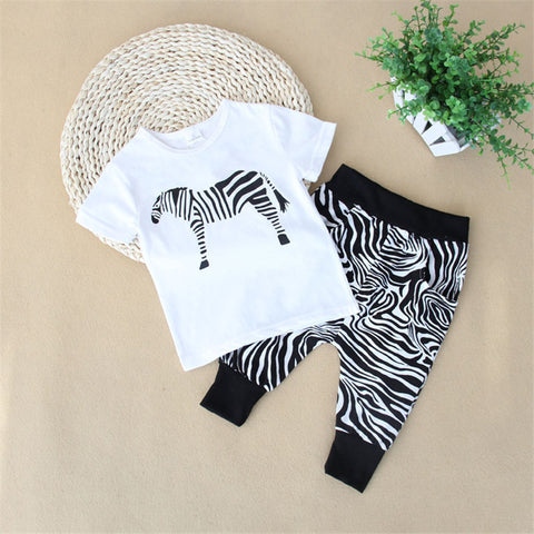 Boys Girls Summer Clothing Sets Kids T-shirt & Pant Set 2016 New Brand Zebra Printed Children Clothes Set Fashion Style Clothing