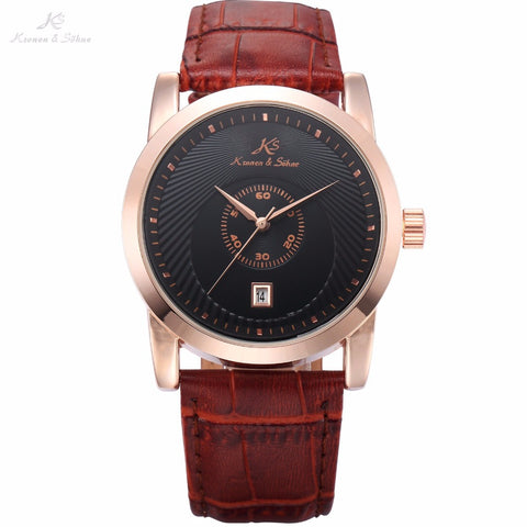 Brand Royal KS Rose Gold Case Automatic Black Dial Men Business Mechanical Watch Date Brown Leather Band Gift Wristwatch / KS329