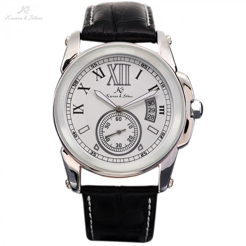 Brand New Fashion KS Men's White Dial Luminous Date Day Black Leather Band Strap Analog Wrist Automatic Mechanical Watch / KS067