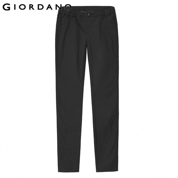 Giordano Women Solid Stretch Pants Slim Fit Long Trousers Mujer Pantalones Pour Femme Womens Black Pants Casual Chandal
