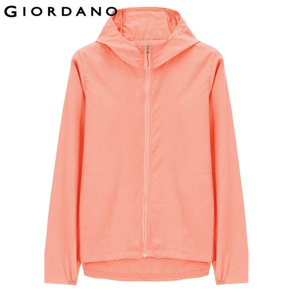 Giordano Women Hooded Windproof Jacket Zip Mujer Chaquetas Brand Ladies Jacket Solid Outerwear Casual Tops Woman Windbreakers