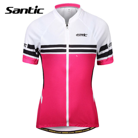 2016 Spring Santic Women Cycling Jersey Short Sleeve Cycling Wear Rose Red Cycling Jerseys Summer Shirts mujer LC02062P
