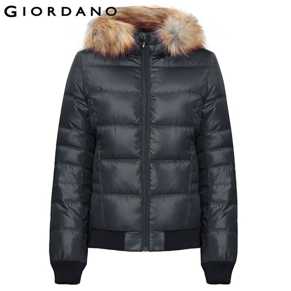 Giordano Women Down Jacket Faux Fur-Trim Downs Winter Warm Outerwear for Woman Puffer Coats Windproof Outdoor Clothing