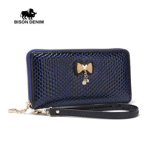 Bison Denim cowhide leather women long wallet card holder bowknot casual zipper clutch bag