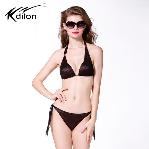 Kdilon 2016 New Arrival High Quality In Stock maillot de bain Add two Cups Push Up Neck Bikini Set bathing suits
