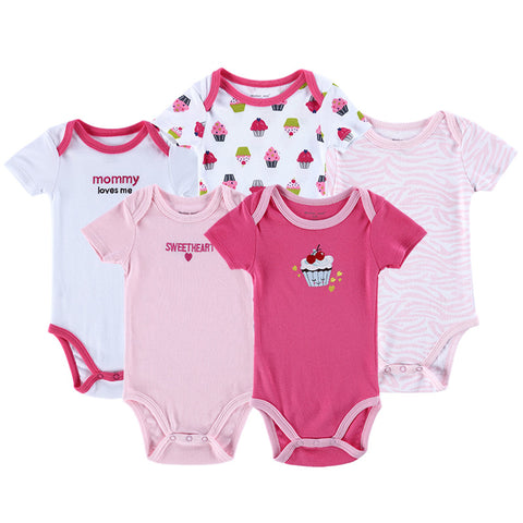 5 Pcs/lot Baby Bodysuits Summer Newborn Baby Bodysuits O-Neck Baby Clothing Set Next Cotton Baby Jumpsuits