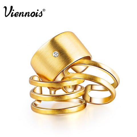 Hot Viennois Fashion Jewelry GP Gold & Silver Plated Triple Layer Wedding Engagement Finger Rings for Women