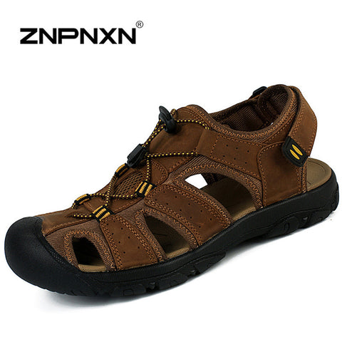 New 2015 Men Sandals Genuine Leather Slippers Outdoor Men summer shoes soft bottom flat Sandals for Men's sandalias plataforma