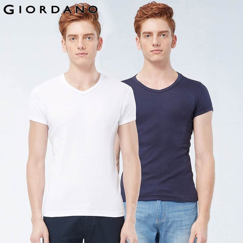 Giordano Men Essential V-Neck Tshirt for Men Solid Cotton T-Shirt Male Short Sleeve Summer Tops Man Pack Tees Camisa Masculina