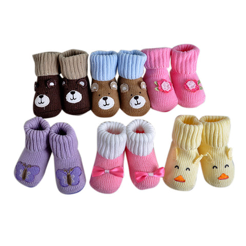 2 Pairs/lot Lovely Cute Newborn Baby Socks 6 Styles Animal Cartoon Infant S 0-12 Months