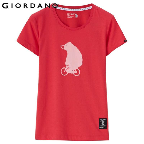 Giordano Women Tee Graphic Short Sleeves Anime Print Summer Tops Casual Ladies T-shirt Dames Kleiding Cute Mujer Larga