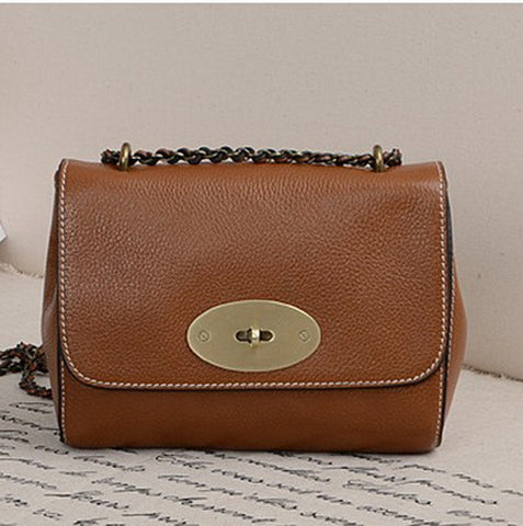 2012 spring and summer excellent lily cowhide genuine leather o word chain one shoulder cross-body small bag female 9