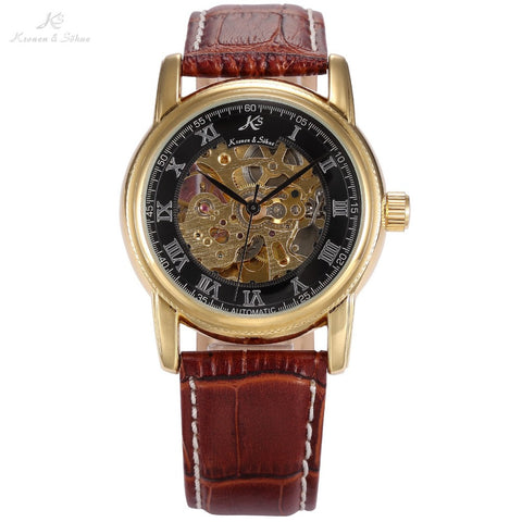 Classic KS Black Skeleton Dial Golden Case Rome Numeral Automatic Mechanical Brown Leather Band Men's Dress Wrist Watch / KS032