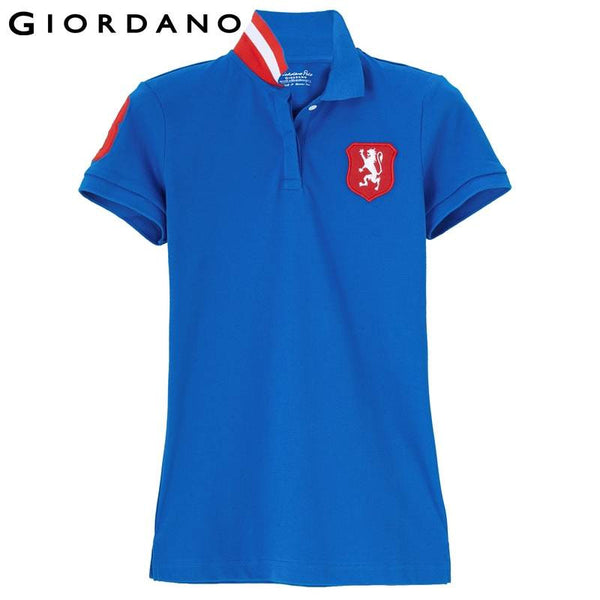 Giordano Women Embroidered Lion Polo Female Short Sleeve Polo Shirt Graphic Tops Womens Collar Top Cotton Plus  Feminina