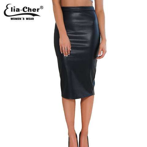 2015 summer style faux leather pencil midi skirts chic elegant fashion fitness solid plus size causal women clothing skirt