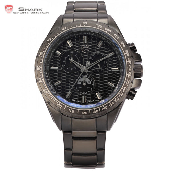 Steel Frilled Shark Sport Watch 3D Logo Chronograph 24 Hours Black Stainless Steel Folding Clasp Quartz Men Wristwatch / SH187
