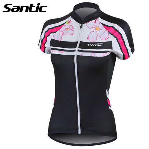 2016 Santic Women Compression Cycling Shirt  Layer Cool Black Team Short Sleeve Cycling Jersey Ladies Bike Sports Women LC02059