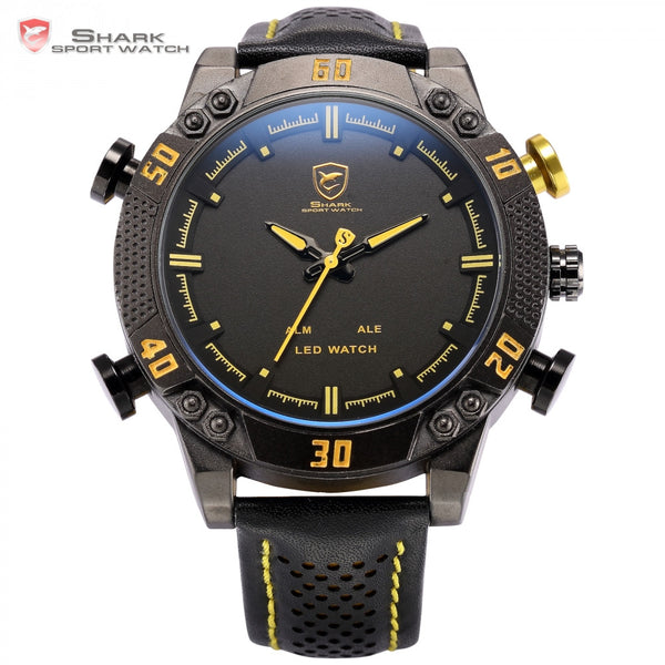 Shark Sport Watch Black Yellow Dial 3ATM Waterproof LED Quartz Digital Leather Band Dual Time Display Men Military Watches/SH263