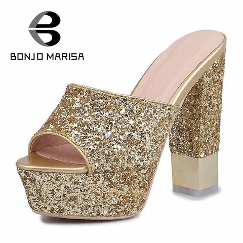 2016 Fashion Peep Toe Solid Slip On Glitter Platform High Square Heels Summer Slides Sexy Bling Shoes Women Chic PU Sandals