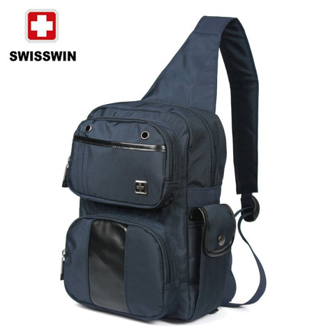 Swisswin Men Waterproof 1680D Nylon Military Tactical Travel Hiking Riding High Capacity Sling Shoulder Messenger Chest Ipad Bag
