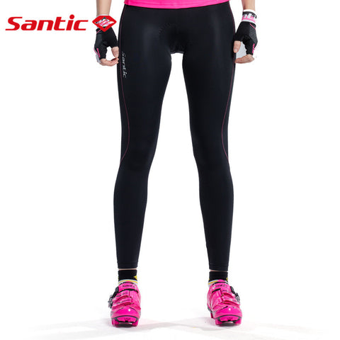 Santic Padded Winter Bike Pants For Women Composite Fleece Thermal Windproof Pants Pantalones Ciclismo Invierno L6C05070H