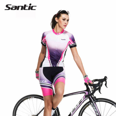 Spring Santic Women Purple Cycling Jersey Padded Gel Short Sets Cycling Short Sleeve Cycling Suits Wear Summer LCT035