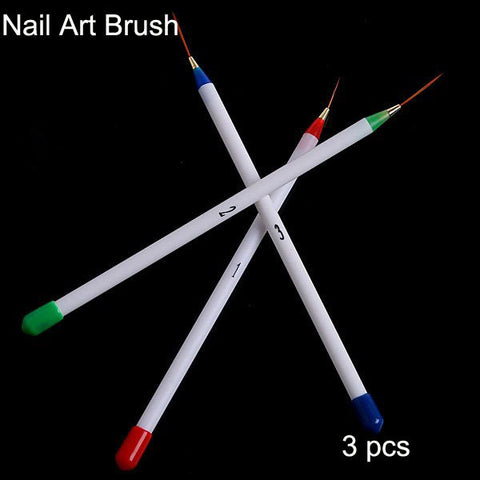 Retail 3pcs White Nail Polish Brush Set Nail Art Design Painting Brush, Free Shipping, Dropshipping